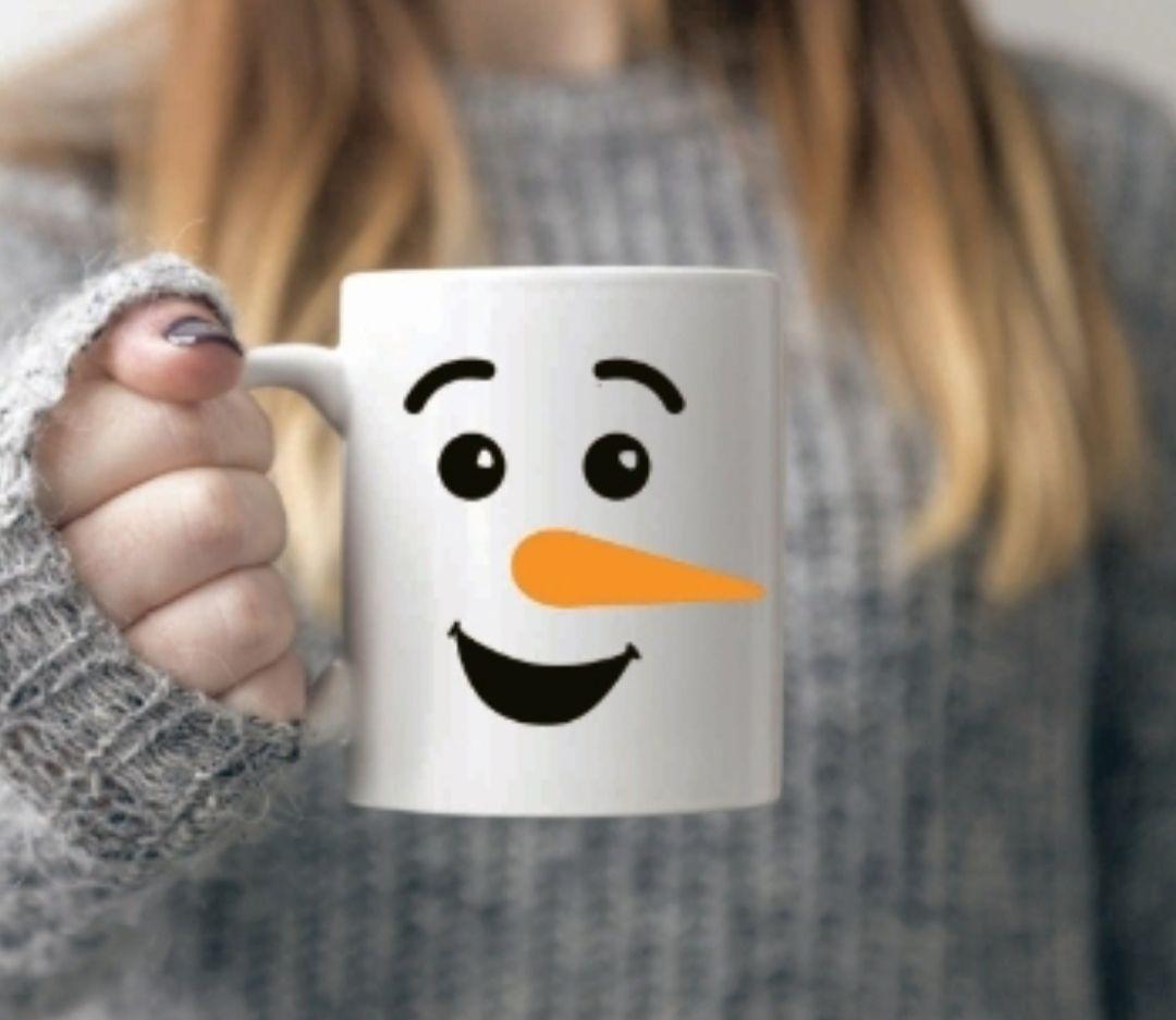 Snowman face mug with eyebrows