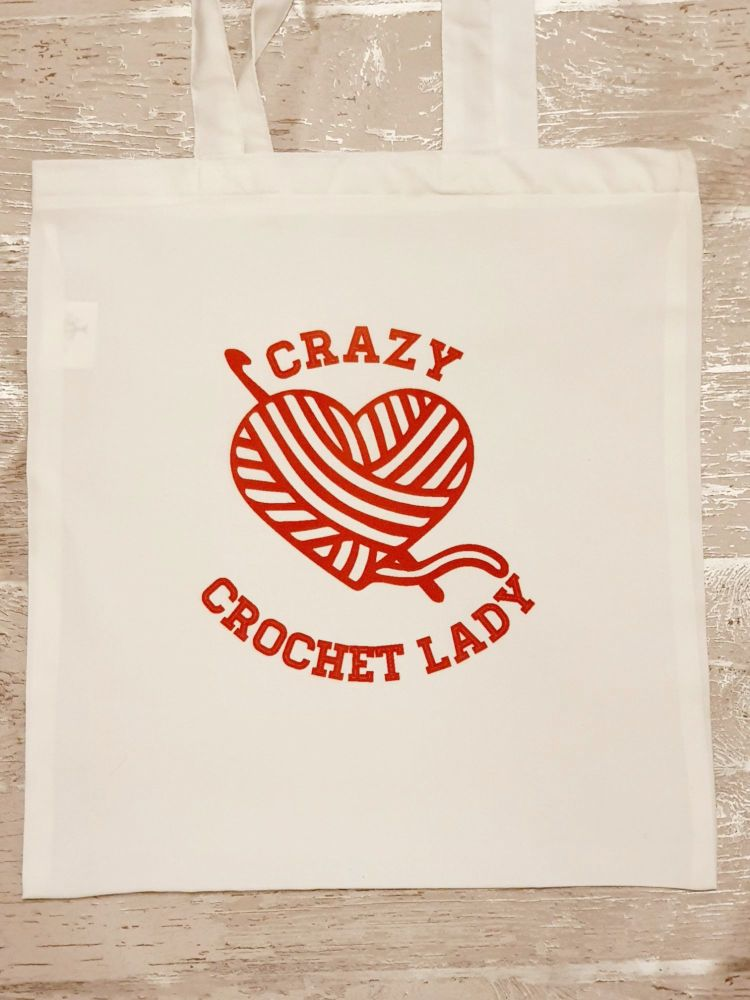 """Crazy Crochet Lady"" tote bag. Bag for life."