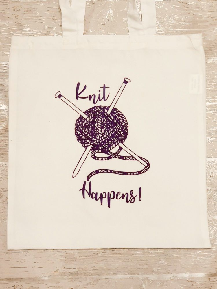 """Knit Happens"" tote bag. Bag for life. Crafting bag."