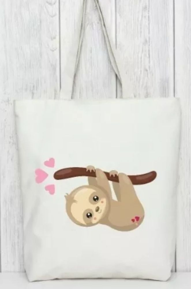 SLOTH - HANGING tote bag. Bag for life.