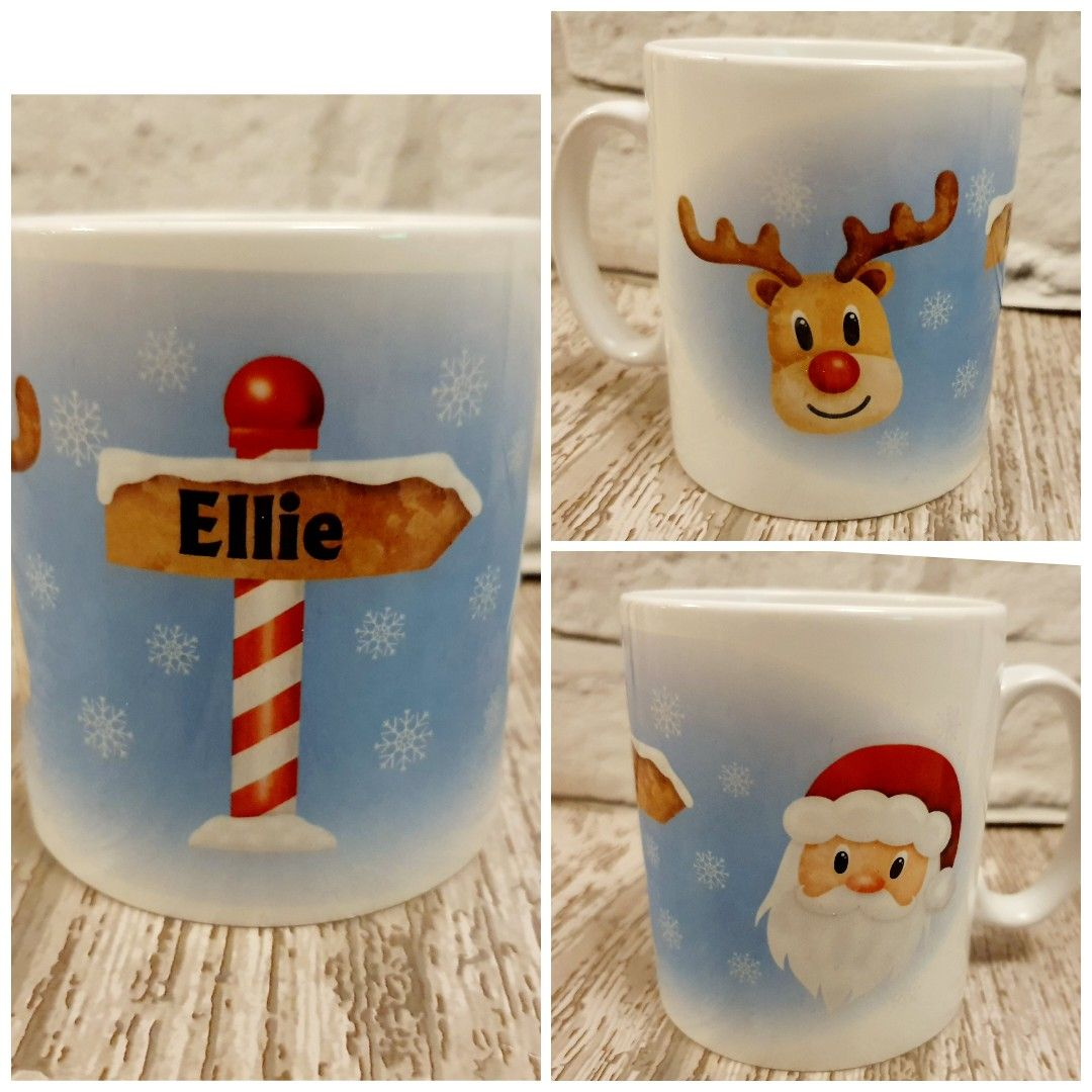 Personalised Christmas mug with santa reindeer. Childrens Christmas eve box idea
