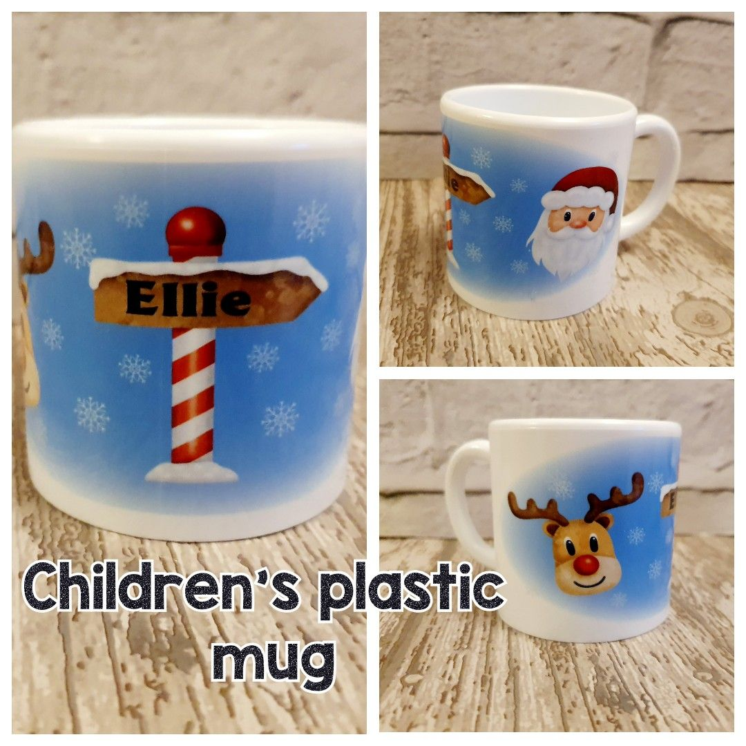 Plastic Personalised Christmas mug with santa reindeer. Childrens Christmas