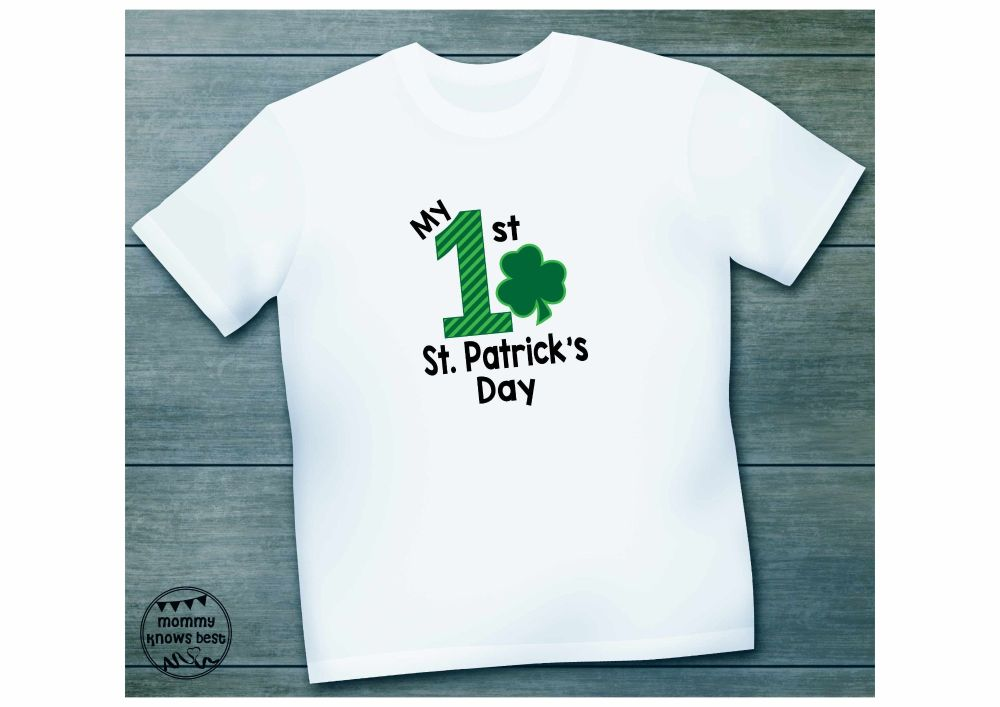 My First St Patrick's Day Childrens Tshirt - image with 4 leaf clover