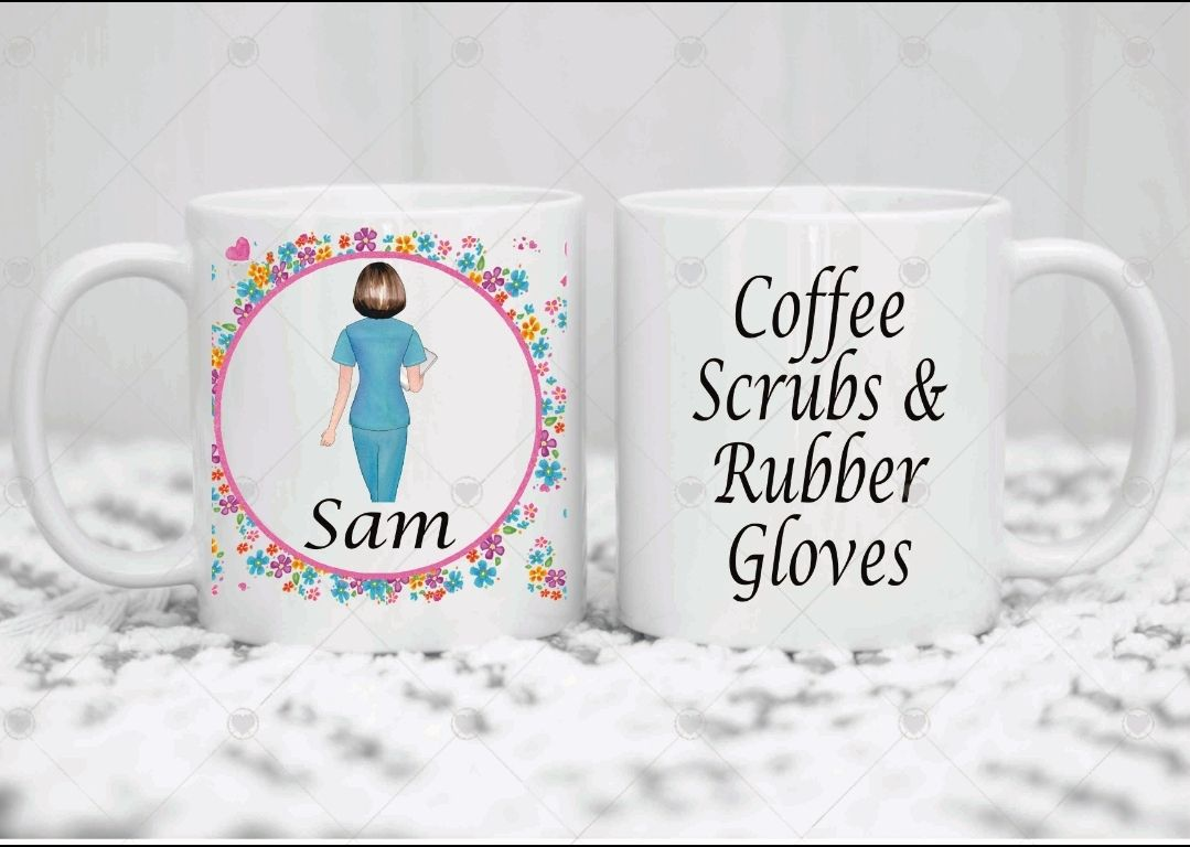 Personalised Nurse mug. COFFEE SCRUBS AND RUBBER GLOVES. Coffee mug. Cup. W