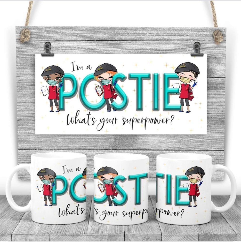 POSTIE Mug - I am a POSTIE what's your superpower? Say thank you mug gift