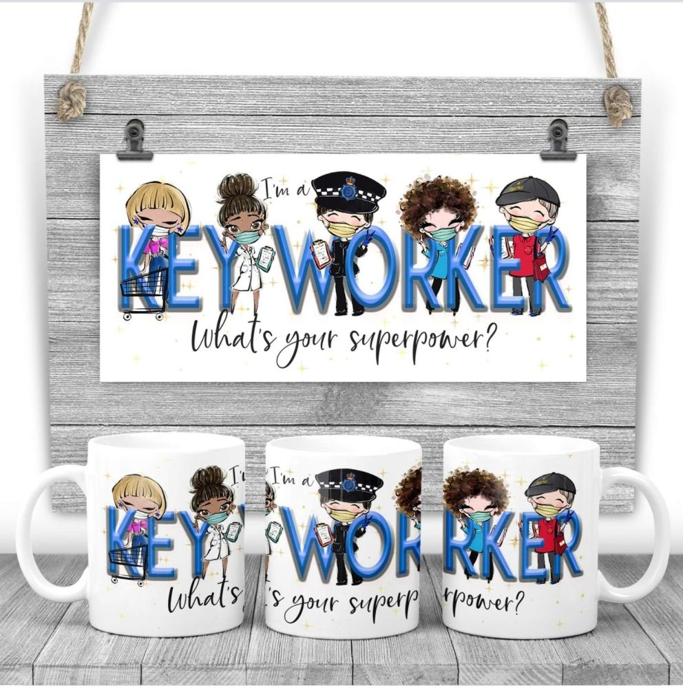 KEYWORKER Mug - I am a KEYWORKER  what's your superpower? Say thank you mug gift