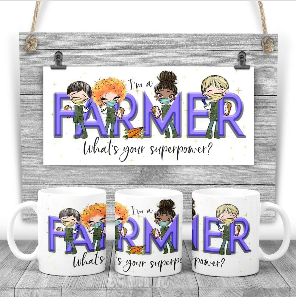 FARMER Mug - I am a FARMER what's your superpower? Say thank you mug gift