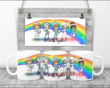 """All in this together"" rainbow mug gift"