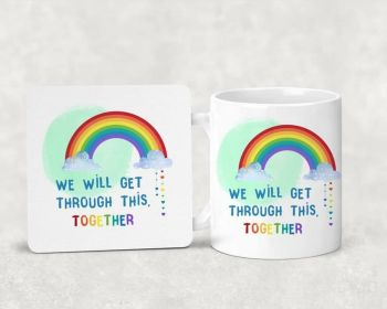RAINBOW - We will get through this together. Mug and coaster set.