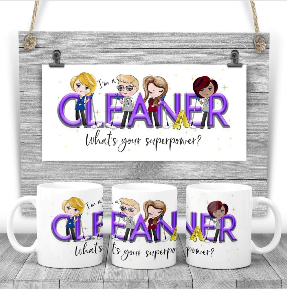 Cleaner Mug - I am a CLEANER  what's your superpower? Say thank you mug gif