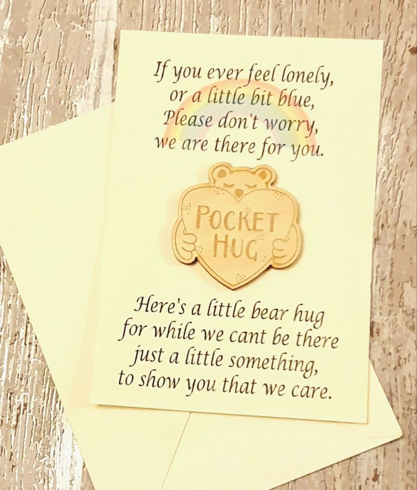 Wooden Hug Token/ Pocket Hug, Send A Hug, Thinking Of You,