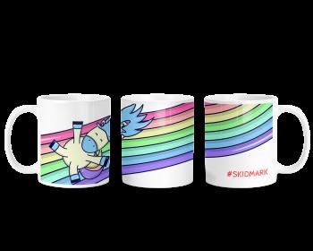 Unicorn rainbow mug. #SKIDMARK. Adult humour