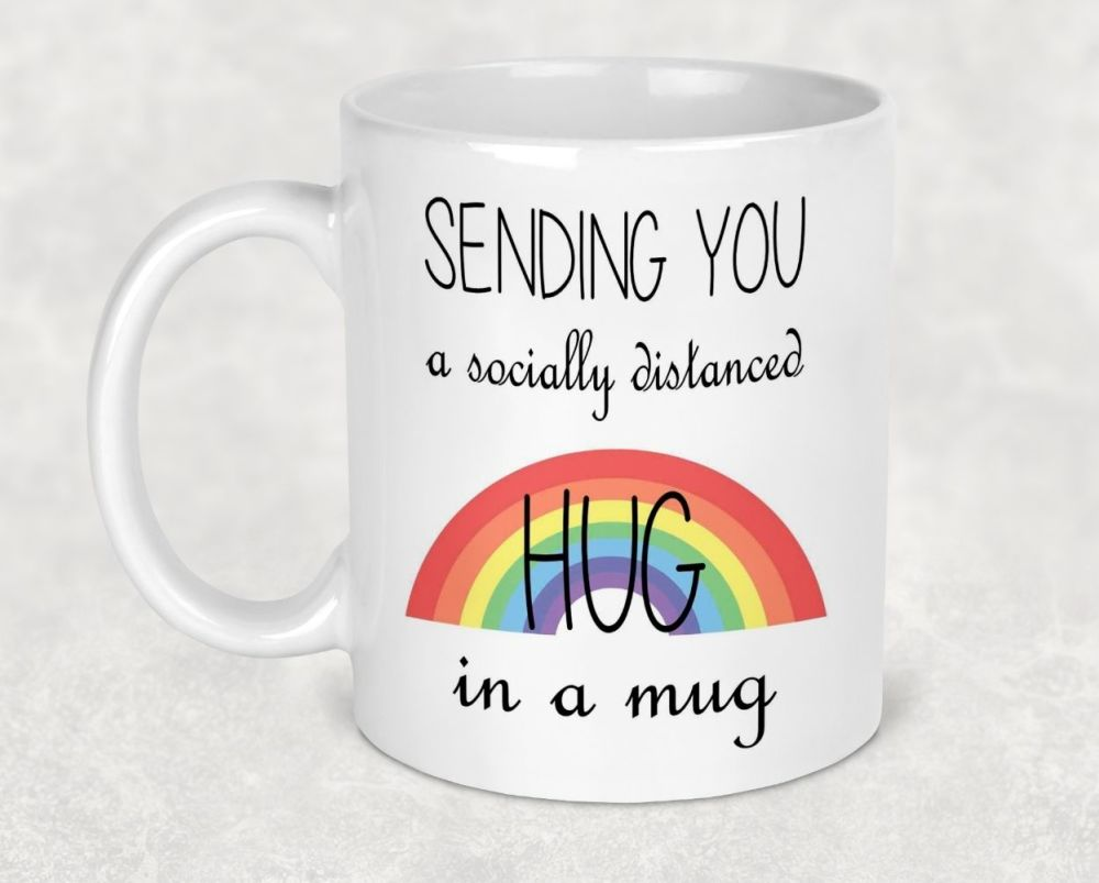 Sending you a socially distanced HUG in a MUG. Rainbow gifts. Thank you NHS Keyworker gift. Thinking of you coffee cup.