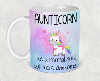Aunticorn mug. Cute Aunty auntie unicorn mug. Like an aunt, but more awesome. Gift for aunt, birthday present for aunty.