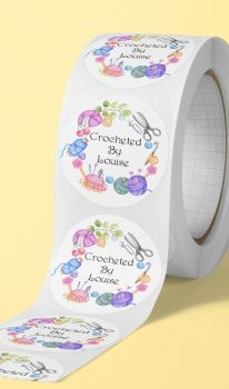Crocheted by, personalised crocheted stickers