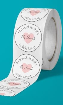 Handmade with love by name, personalised stickers
