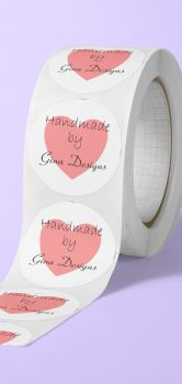 Handmade by name, with heart. personalised round stickers