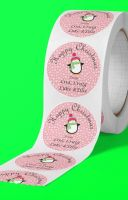 Happy Christmas penguin round stickers. Personalised.