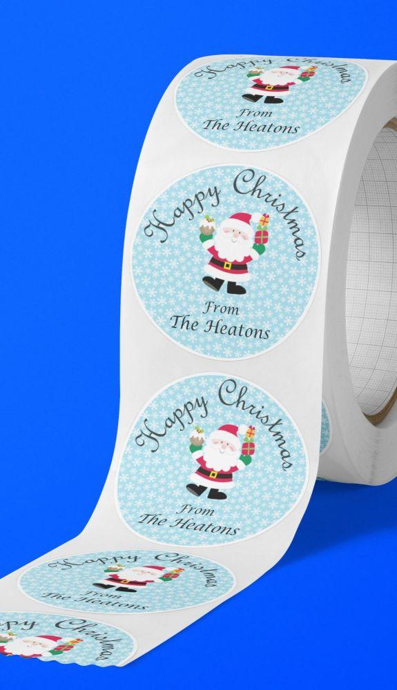 Happy Christmas Santa round stickers. Personalised.