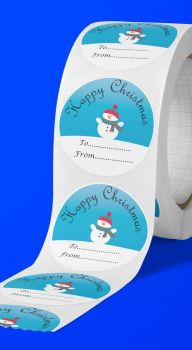 Happy Christmas Snowman round stickers. Personalised.