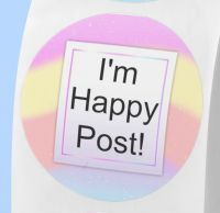 I'm happy post stickers. Labels for envelopes