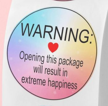 Warning, opening the package will result in extreme happiness! stickers. Labels for envelopes