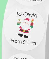 From Santa round stickers. Personalised.