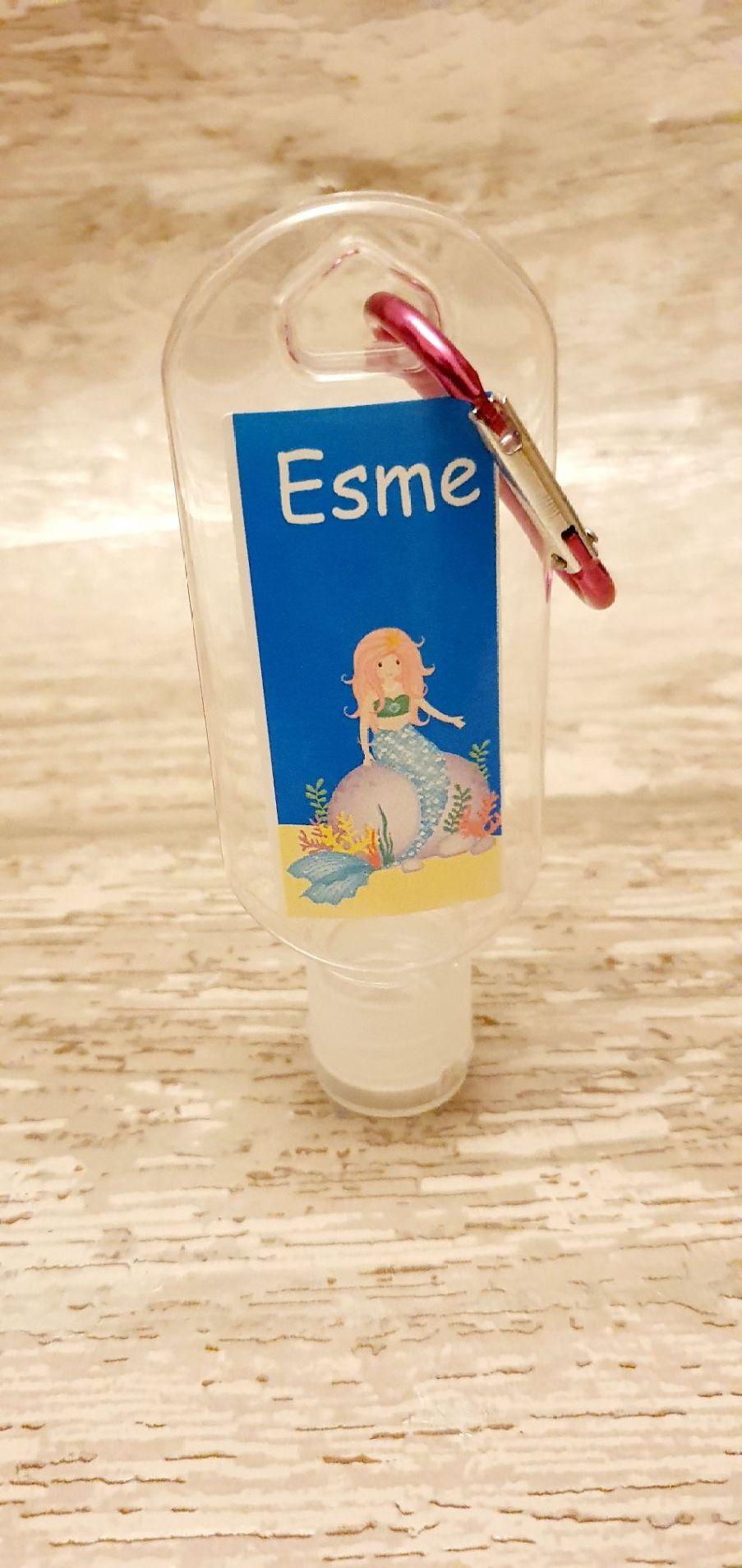 Mermaid hand sanitiser gel 50ml bottle - personalised