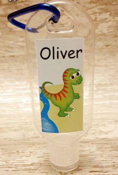 Dinosaur hand sanitiser gel 50ml bottle - personalised