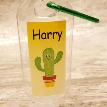 Cactus hand sanitiser gel 50ml bottle - personalised