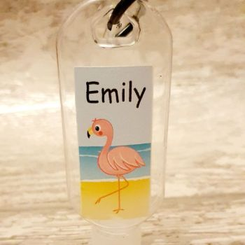 Flamingo hand sanitiser gel 50ml bottle - personalised