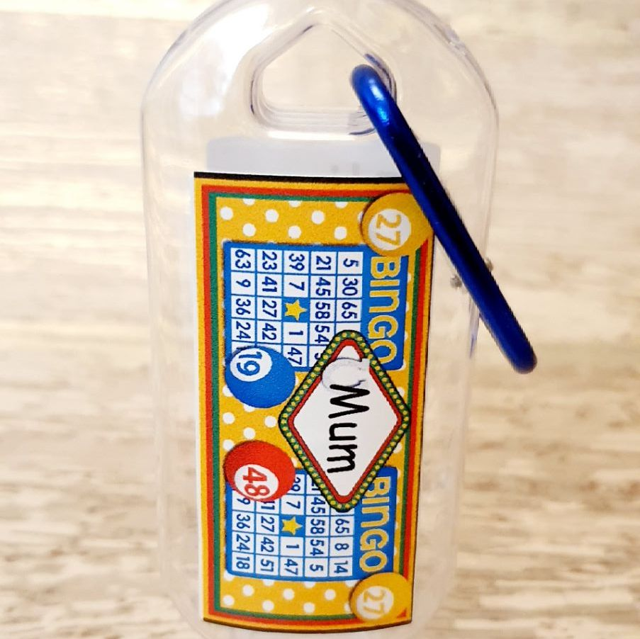 Bingo hand sanitiser gel 50ml bottle - personalised