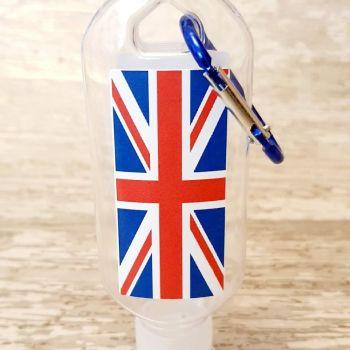 Union Jack flag hand sanitiser gel 50ml bottle - personalised