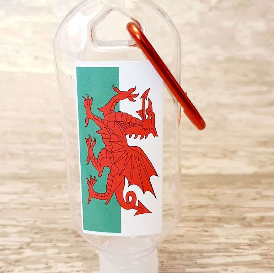 Welsh flag hand sanitiser gel 50ml bottle - personalised