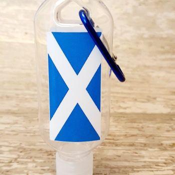Scottish flag hand sanitiser gel 50ml bottle - personalised