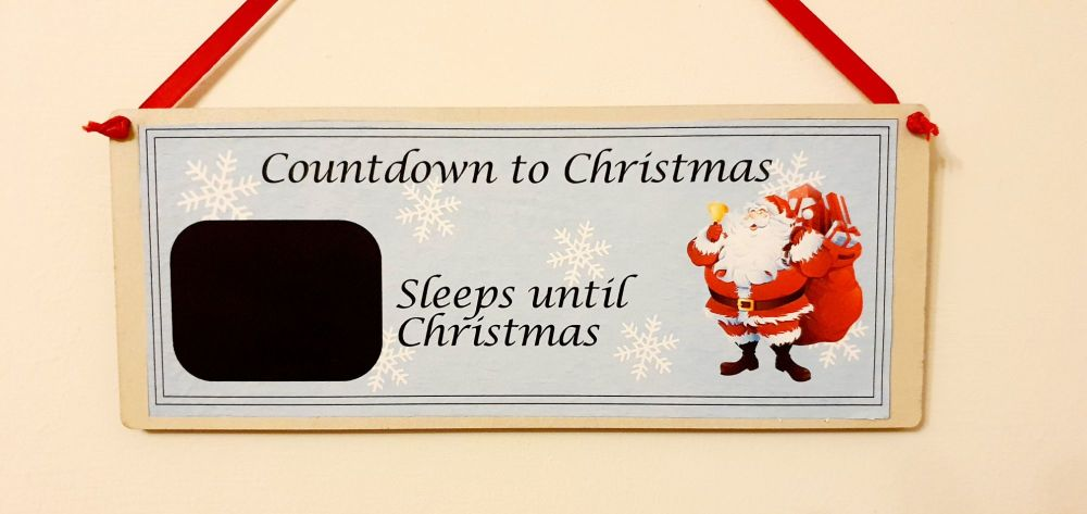 Countdown to Christmas plaque. Chalk / blackboard