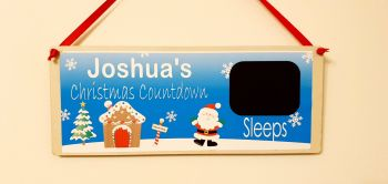 Personalised Countdown to Christmas plaque. Chalk / blackboard