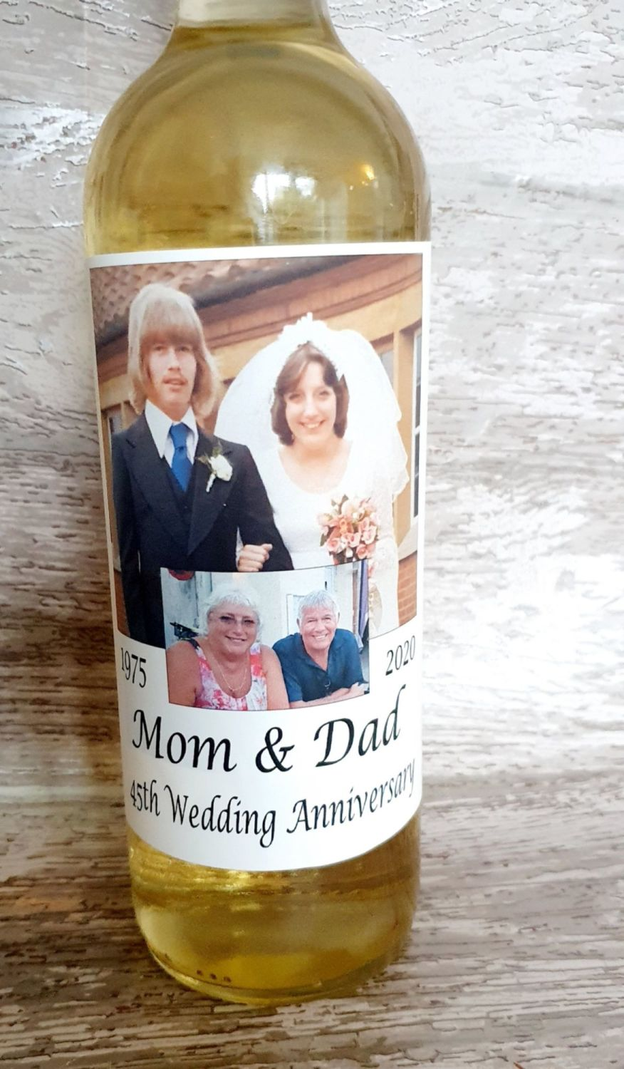 Personalised photo wine bottle label for wedding anniversary.