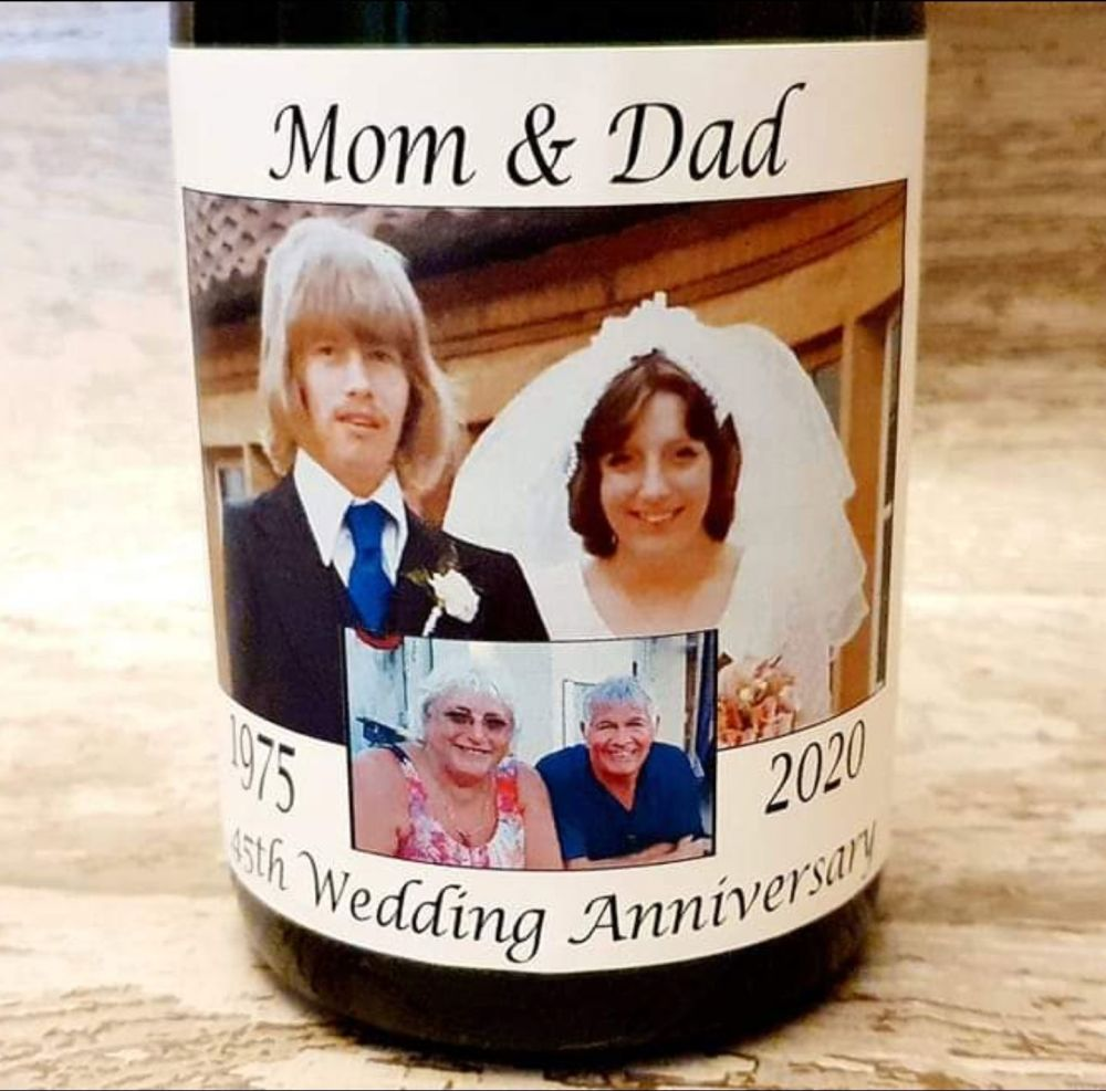 Personalised photo champagne / prosecco bottle label for wedding anniversar
