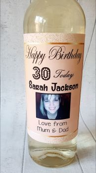 Personalised photo wine bottle label for any birthday
