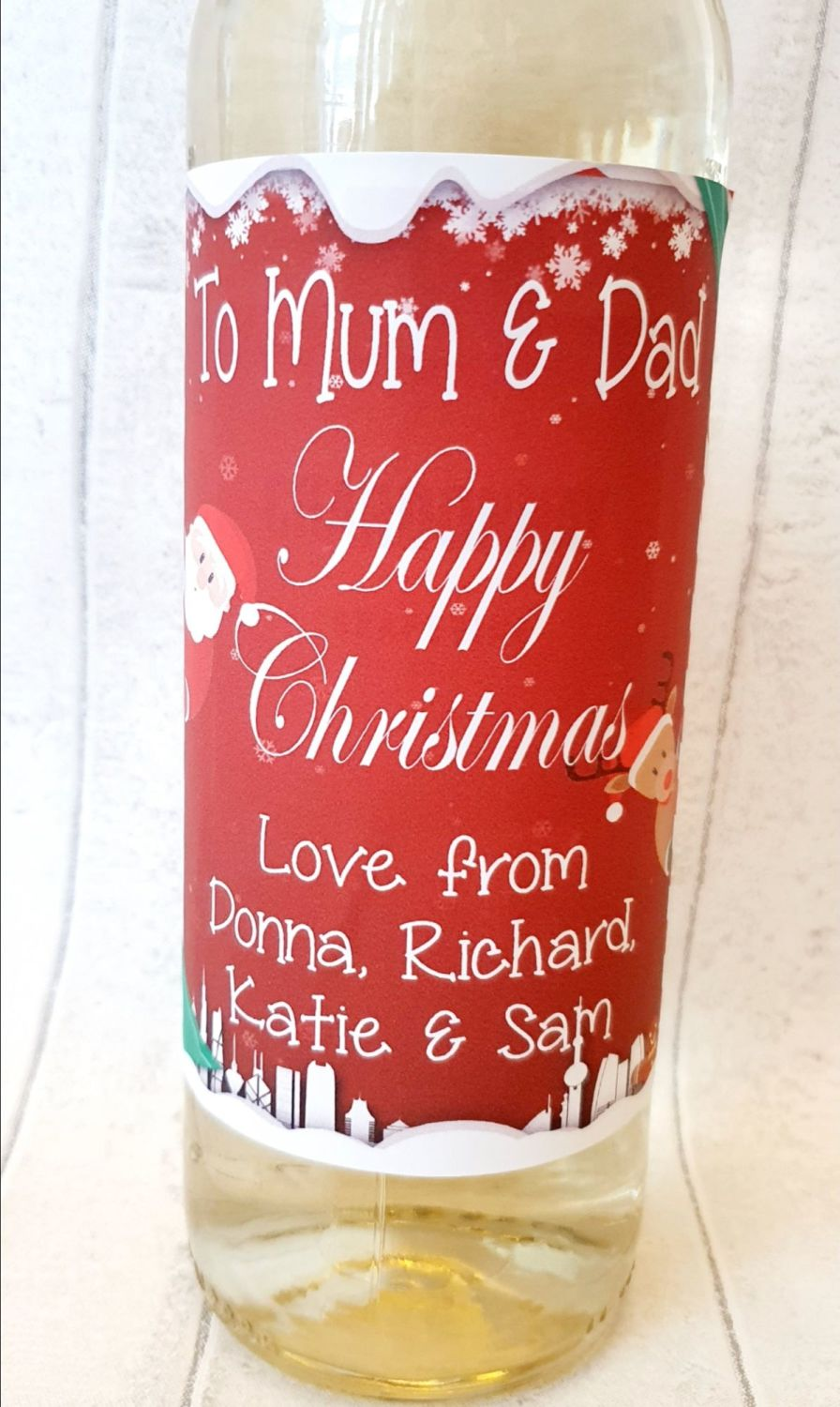 Personalised photo wine bottle label for Christmas