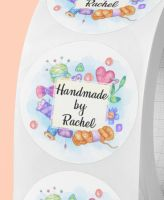Handmade by, personalised crafting stickers
