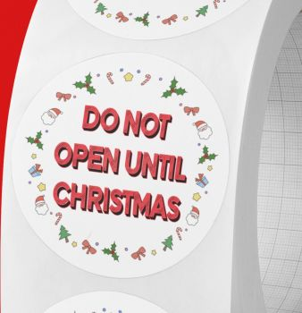 Do not open until Christmas round stickers.