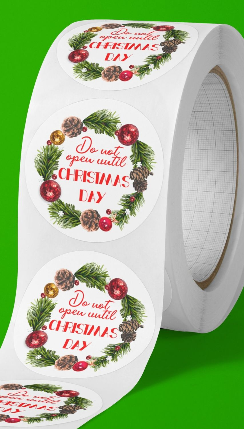 Do not open until Christmas round stickers. Wreath frame