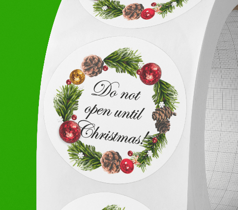 Do not open until Christmas round stickers. Wreath frame. Version 2