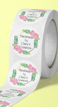 Handmade by, personalised crafting stickers - floral design