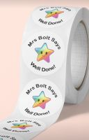 Teachers star stickers. Personalised.