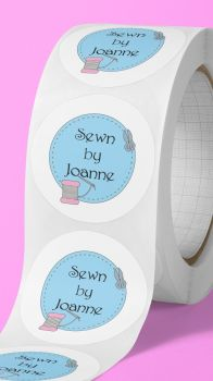 Sewn by, personalised sewing stickers