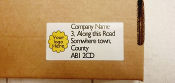 Return address labels 2.9cm x 6cm, with logo