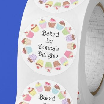 Baked by, personalised baking stickers with cupcake frame